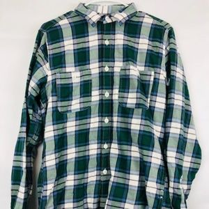 J. Crew Vintage Small Green Flannel Button Shirt